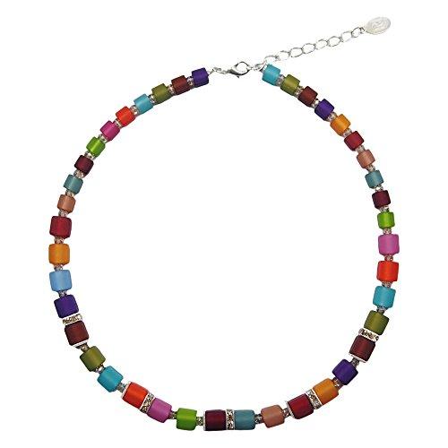 perla pd design Halskette mit echten Polariswürfel ca. 45 cm + 4.5 cm PWS0842 mit Swarovski Elements Regenbogenmix dunkel