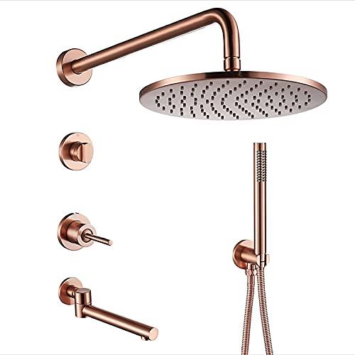 Juego de grifo de ducha montado en la pared completo con válvula de latón y grifo de bañera giratorio, sistema de ducha Sistema de cabezal de ducha de lluvia redondo de oro rosa con juego combinado d