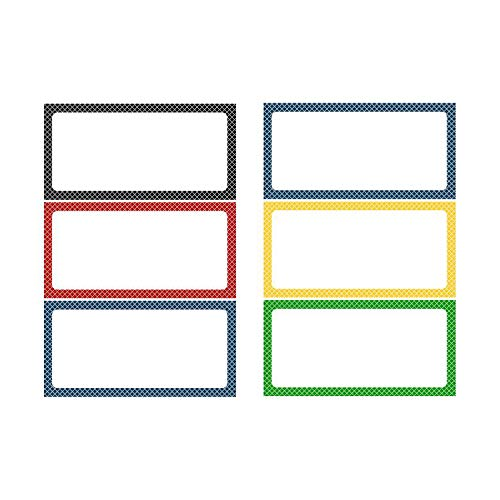 """Magnetic Dry Erase Labels - Dry Erase Cute Name Tags - Magnetic Labels -Whiteboard Magnets with Colorful Borders, 2"""" x 6"""""""
