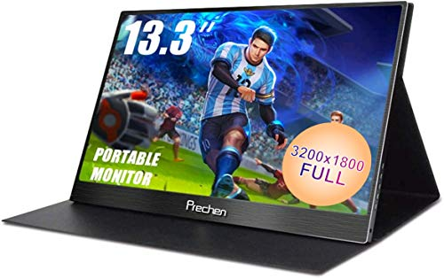 Prechen 13.3 Pulgadas HD portátil para Juegos Monitor Resolución 3200x1800, HDMI Cable...