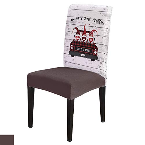 6 PCS Stretchy Dining Chair Slipcovers for Home Ceremony Banquet, Wedding, Removable Washable Anti-Dirty Furniture Protector for Kids Pets, Mother's Day Truck with Dwarf-World's Best Mother on Wood