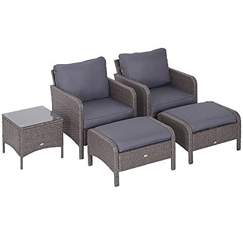 Outsunny Set Mobili da Giardino 2 Poltrone 2 Poggiapiedi 1 Tavolino in Vetro Temperato Rattan Grigio