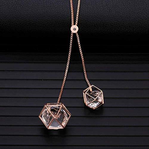 Collar colgante geométrico de cubo de cristal transparente Collar de suéter largo...