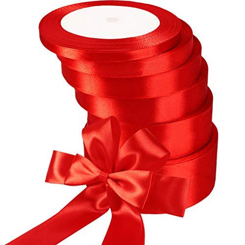 6 Rotoli Nastro di Natale in Raso Nastro Regalo di Natale Nastro in Oro Rosso per Bomboniera di Nozze Confezione di Regalo Artigianale Rifornimenti di Festa di Natale, 150 Iarde, 6 Dimensioni (Rosso)