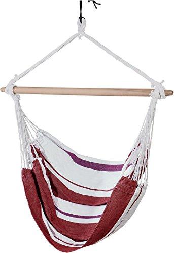 Golden Lutz LIVARNO Living® Hängesessel, Belastbarkeit bis 120 kg, ca. 150 x 120 cm (rot/weiß gestreift)