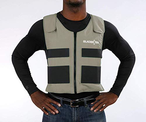 Glacier Tek Sports Cool Vest with Set of 8 Nontoxic Cooling Packs Lgray