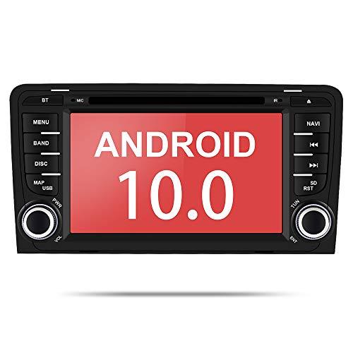 Aumume Android 10.0 Autoradio für Audi A3/S3 mit Navi, Unterstützt Autoplay Mirrorlink Bluetooth DSP DAB+ WiFi USB CD DVD (mit 16 GB Karte)
