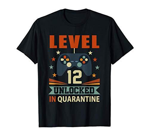 Level 12 Unlocked In Quarantine Video Gamer 12th Birthday T-Shirt
