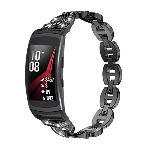 TechCode Gear Fit 2 Bling Strap, Rhinestone Correa de Repuesto Pulsera de Acero Inoxidable Pulsera de Metal Correa de Reloj Ajustable para Samsung Gear Fit 2/ Fit 2 Pro SM-R360/ R365 (Negro)