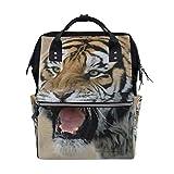 LINDATOP - Bolsa de pañales con impresión de imagen de tigre siberiano, bolsa de viaje para mamá, gran capacidad y multifunción, elegante y duradera