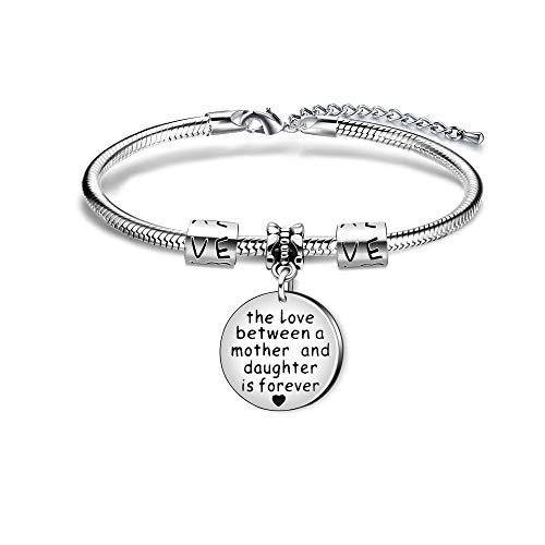 KENYG The Love Between A Mother and Daughter is Forever Silver Pendant Snake Bracelet Bangle