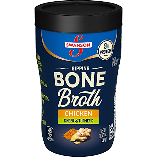 Swanson Sipping Bone Broth, Chicken Bone Broth with Ginger & Turmeric, 10.75 Ounce Sipping Cup (Pack of 8)