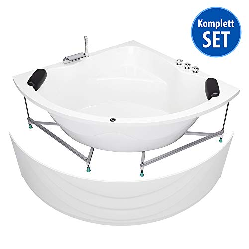 AQUADE Badewanne 150 x 150 extra stabile Eckbadewanne mit Untergestell 150x150 cm Modell: Kassel + Armatur + LED + Kissen