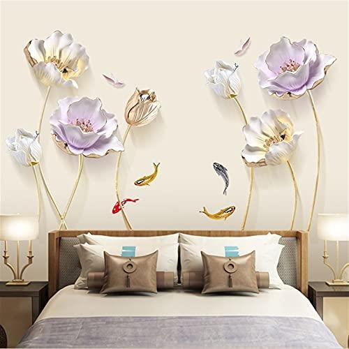 Etiquetas engomadas de la pared de la flor de tulipán grande para la decoración de la pared de la sala de estar del dormitorio BRICOLAJE Calcomanías de vinilo florales de alivio decoración del hogar