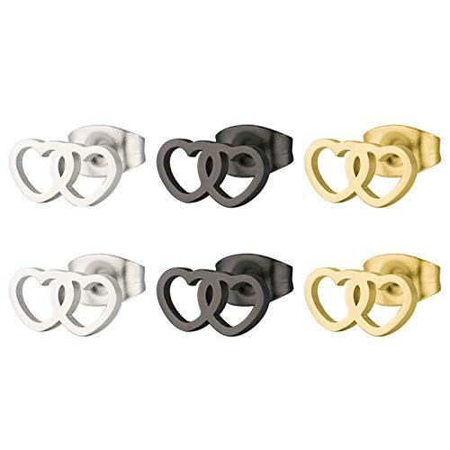 Daesar 3Pares Doble Corazones Hueco Pendientes de Titanio Mujer Hombre Plata Negro Oro
