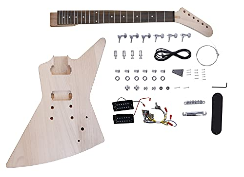 Leo Jaymz DIY Electric Guitar Kits - Mahogany Body, Maple Neck and Rosewood Fingerboard - Fully Components Included (AX)