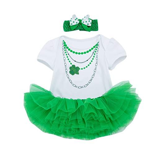 Poachers St. Patrick Kleinkind Baby Leaf Halskette Print Strampler + Rock + Stirnband Set Outfit