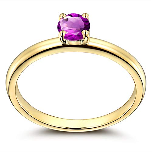 Adokiss Jewellery Sterling Silver Ring Cubic Zirconia, 4 Claws Round Purple Cubic Zirconia Wedding Rings for Her, Rose Gold, Size L 1/2, for Your Wife/Girfirend