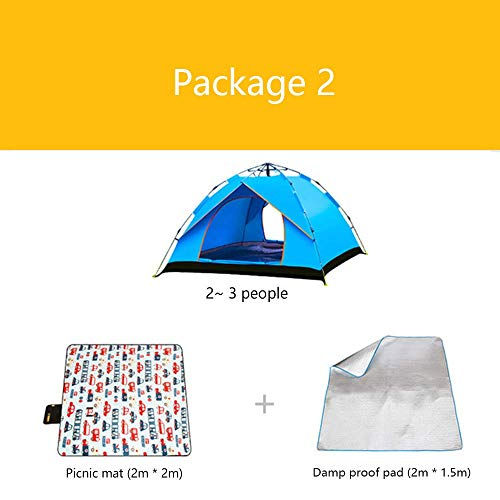 LLSS Package Camping Tents Inflatable Mattress Inflatable Pump Barbecue Pad Insulation Pads Thick Rain 3-4 People Camping Outdoor Mountaineering Expeditions Beach Tent,02