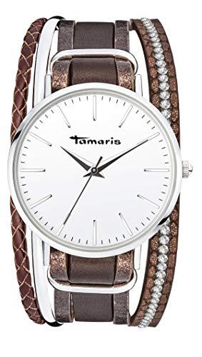 Tamaris Damen Analog Japanisches Quarzwerk Uhr mit Leder Armband TW109