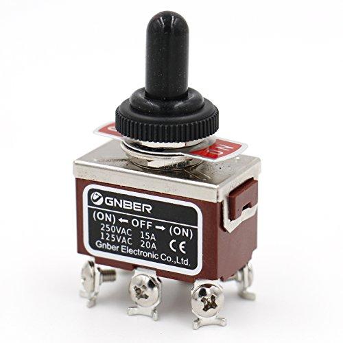 Heschen Interrupteur DPDT à 3 positions (ON)/OFF/(ON) momentané en métal 15 A 250 V AC, livré avec housse étanche