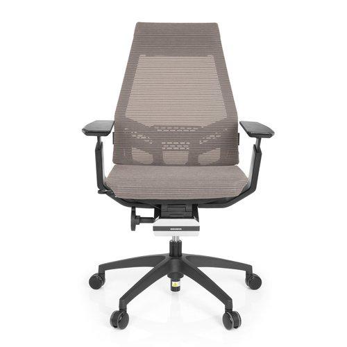 hjh OFFICE 652883 Profi Bürostuhl Drehstuhl GENIDIA SMART Black, Netz-Stoff, Grau/Schwarz, ergonomischer Schreibtisch-Stuhl mit verstellbaren Armlehnen für das Büro, Synchron-Mechanik, Home-Office