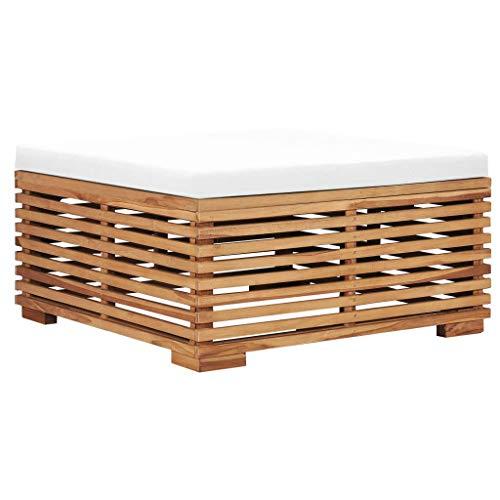 CHAHO Garten Lounge Loungemöbel Terrasse Terassenmöbel ,Gartenhocker mit CremeWeißer Auflage Massivholz Teak