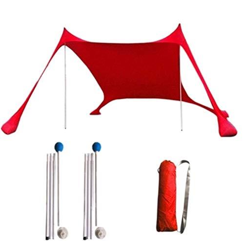FUSSUF Tienda Portable de Protector Solar Libre de Arena de Playa 210x210 Sombrilla Anti-UV Parasol Gazebo protección UV Sun Refugio a Prueba de Lluvia Toldo (Color : Rojo)