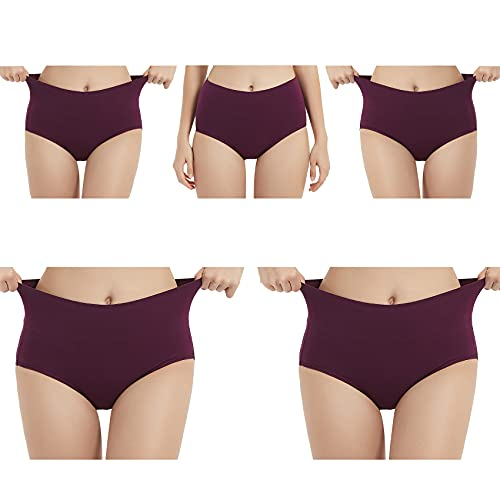 EKSHER Unterhosen Damen Baumwolle Hohe Taille 5er Pack-Lila-XL
