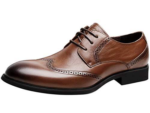 Zapatos de Cordones Vestir Derby Hombre Wingtip Brogue Piel Plano Oxford Negro Marrón 42 EU