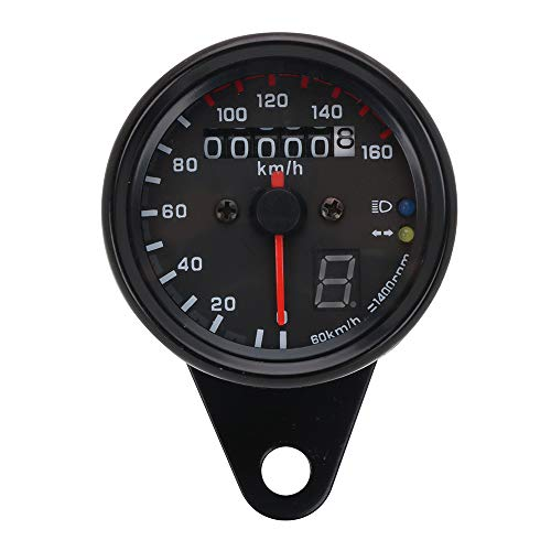 Velocímetro universal para motocicleta con cuentakilómetros retro con retroiluminación LED para Honda Yamaha Kawasaki Suzuki Cruiser Chopper Cafe Racer (negro)
