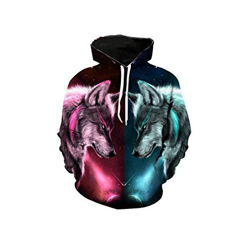 Sudadera con capucha impresa en 3D, diseño de animal de lobo, con capucha para otoño e invierno