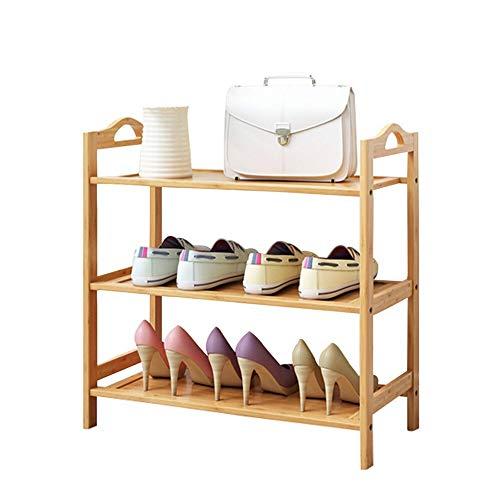 Subobo Zapatero de madera, 3 niveles, multifuncional, para pasillo, sala de estar, dormitorio, puede almacenar varios pares de zapatos (tamaño: 50 cm, color: 3 niveles)