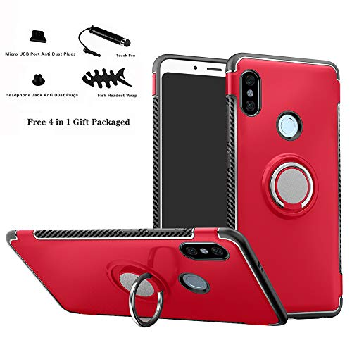 Xiaomi Redmi Note 5 Funda,Labanema 360 Rotating Ring Grip Stand Holder Capa TPU + PC Shockproof Anti-rasguños teléfono caso protección Cáscara Cover para Xiaomi Redmi Note 5 / Redmi Note 5 Pro - Rojo
