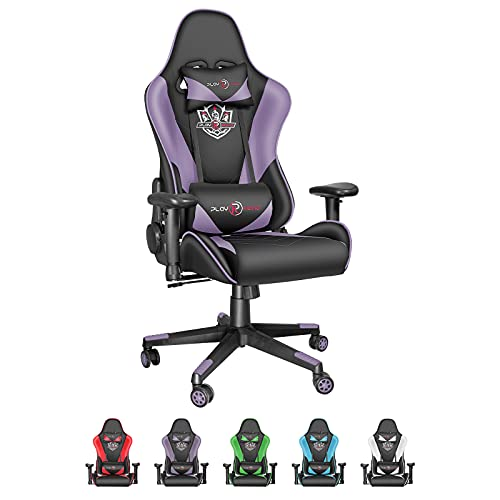 Dvenger Video Game Chairs, Ergonomic Office Chairs, Leather Reclining High Back Computer Office Chair Swivel with Lumbar Support and Headrest Comfortable Gaming Chairs for Adults Gamer Teens, Purple
