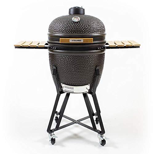 The Columbus Keramik Grill Large Charcoal Grey Kamado Holzkohle Grill BBQ 56cm