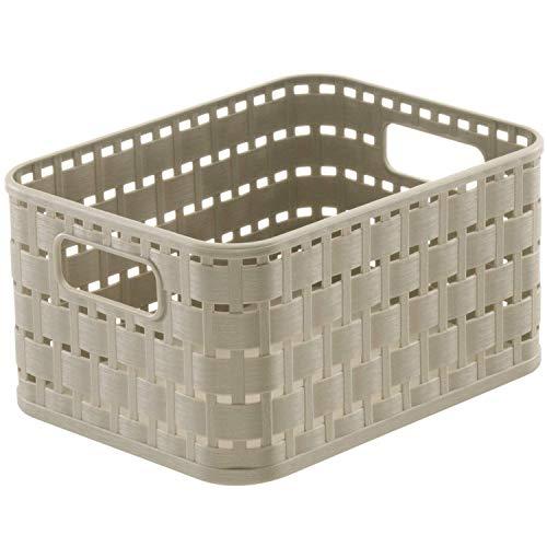 Rotho Country Panier de Rangement 2L en Rotin, Plastique (PP) sans BPA, CaPPuccino, A6/2L (18,3 X 13,7 X 9,8 cm)