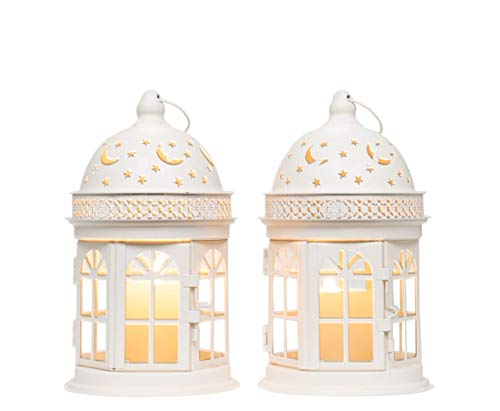 JHY DESIGN Set of 2 Decorative Lanterns-8.5 inch High Vintage Style Hanging Lantern Metal Candle Holder for Indoor Outdoor Events Parities and Weddings (White)