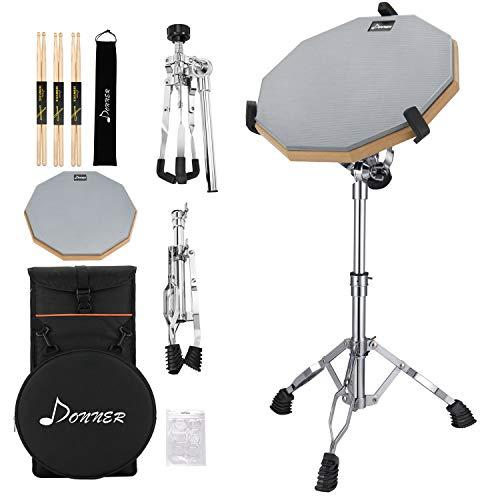 Donner Drum Practice Pad mit Snare Drum Ständer Kit, 3 Paar Drumsticks mit Tasche, Drum Gele