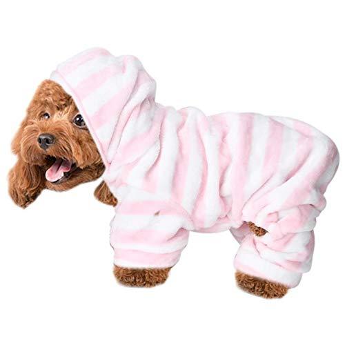 KUIDAMOS Mascota Gato Disfraz de Perro Polar Ropa de Rayas Rosadas Sudadera con Capucha para...