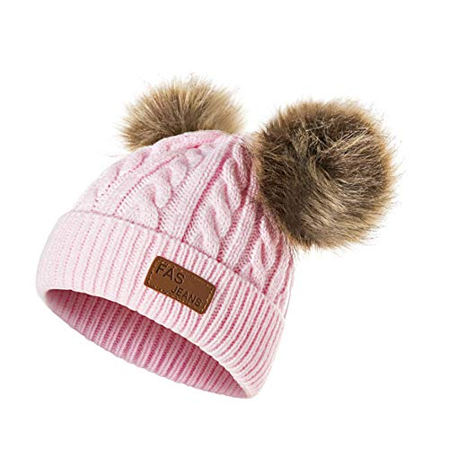 Cappello Bambina Topgrowth Berretti Invernali Ragazza Crochet Cappello A Maglia Bimbo Caldo Cappello Doppio PON di Pelliccia Bambino Unisex (Pink)