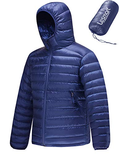 Men's Packable Hooded Puffer Jacket Lightweight Water Resistant Down Jacket Insulation Winter Warm Coat Size L Royal Blue
