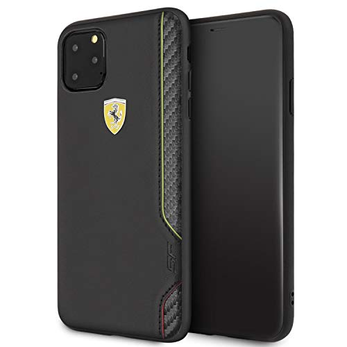 Ferrari Phone Case for iPhone 11 Pro Max PU Leather Hard Cover ON Track Scuderia Italia Black | Easy Snap-On | Drop Protection | Officially Licensed