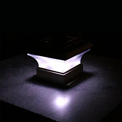 YUOKI99 Solarbetriebene Zaunbeleuchtung, wasserfest, Solar-Lichter, LED Solarzaun-Lampe, Garten-Lampe, Hof-Lampe, Außen-Lampe, wasserdicht, für die Garteneinfahrt, Treppe, Zaun, Deck(Weiß)