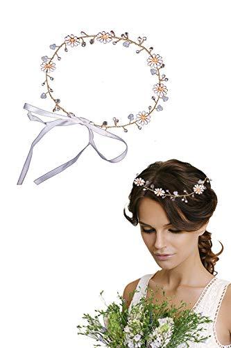 Hocaies Blumen Haarschmuck Vintage Haarkranz Strass Rebe Stirnbänder für Hochzeit Braut oder Dirndl Haarschmuck.