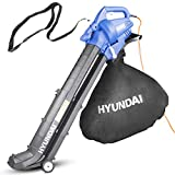 Hyundai HYBV3000E 3 in 1 3000W Electric Leaf Blower Vacuum & Shredder Lightweight & Powerful Long 12 Meter Cable, Large 45L Bag, Variable Speed, Telescope Chute 3 Year Warranty, Blue