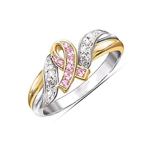 U-K Anillo de Bodas de Compromiso de Diamantes de imitación Coloridos chapados en Oro de 18 Quilates para Mujeres Talla 7 Creativo y útilPráctico y Conveniente