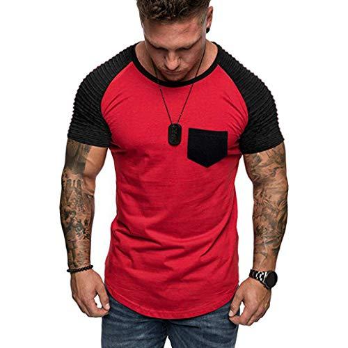 MEIbax Moda Cosiendo Color de Contraste Camiseta de Hombre Manga Corta de...