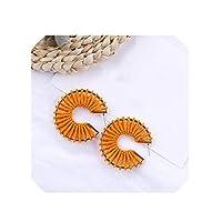 オレンジジオメトリックステートメントロングイヤリングユニークアクリル樹脂ハートラフィアウィーブ女性ブラブラドロップイヤリング-3-