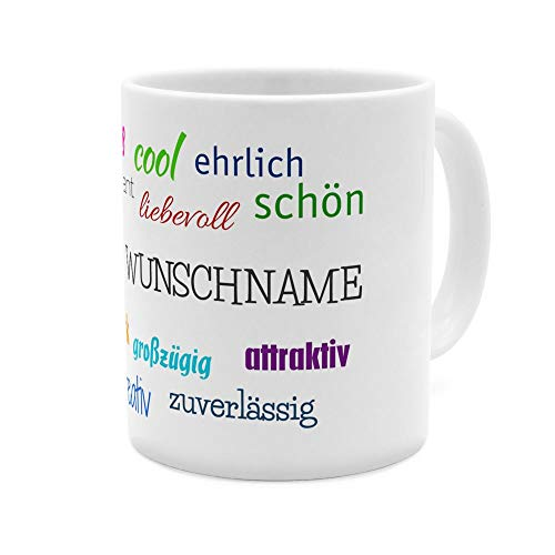 PhotoFancy® Tasse mit Namen personalisiert - Motiv Positive Eigenschaften individuell gestalten - Farbvariante Weiß